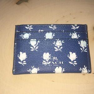 Coach Floral Credit Card Holder with Center Pocket